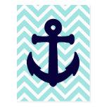 Light Blue Chevron Nautical Anchor Postcard 2