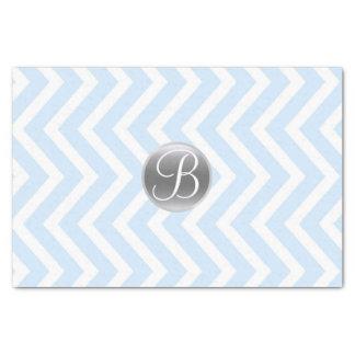 Light Blue Chevron Print Monogram Letter Initial Tissue Paper