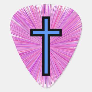 Light Blue Christian Cross & Line Burst Pattern Plectrum