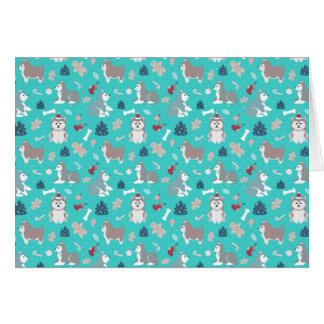 Light Blue Christmas Husky Dog Note Card