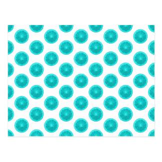 Light Blue Citrus Slice Polka Dots Post Card