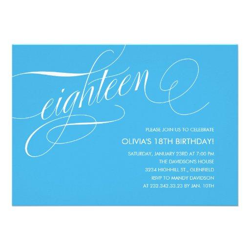 Light Blue Contemporary 18th Birthday Invitations