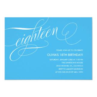 "Light Blue Contemporary 18th Birthday Invitations 5"" X 7"" Invitation Card"