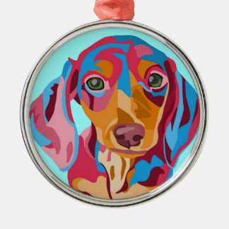 Light Blue Dachshund Silver-Colored Round Decoration