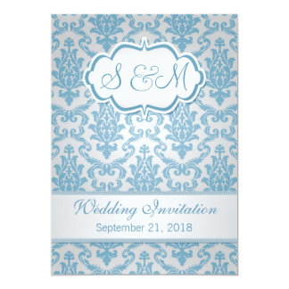 Light blue damask on silver background Wedding 13 Cm X 18 Cm Invitation Card