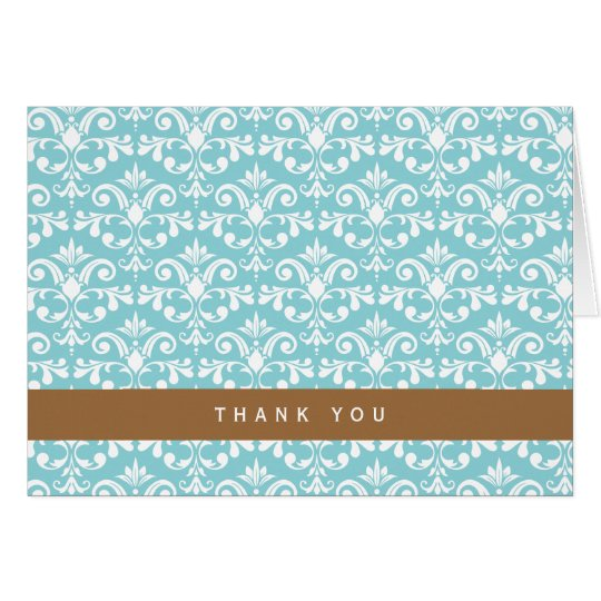 Light Blue Damask Pattern Card