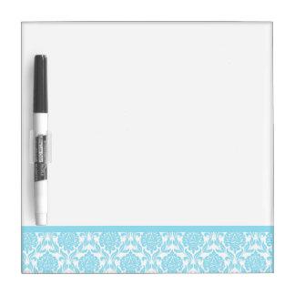 Light Blue Damask Pattern Dry Erase White Board