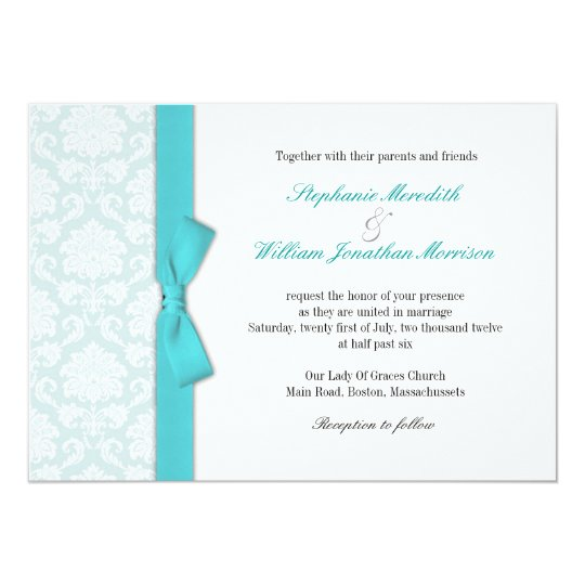 Light Blue Damask Turquoise Bow Wedding Invitation