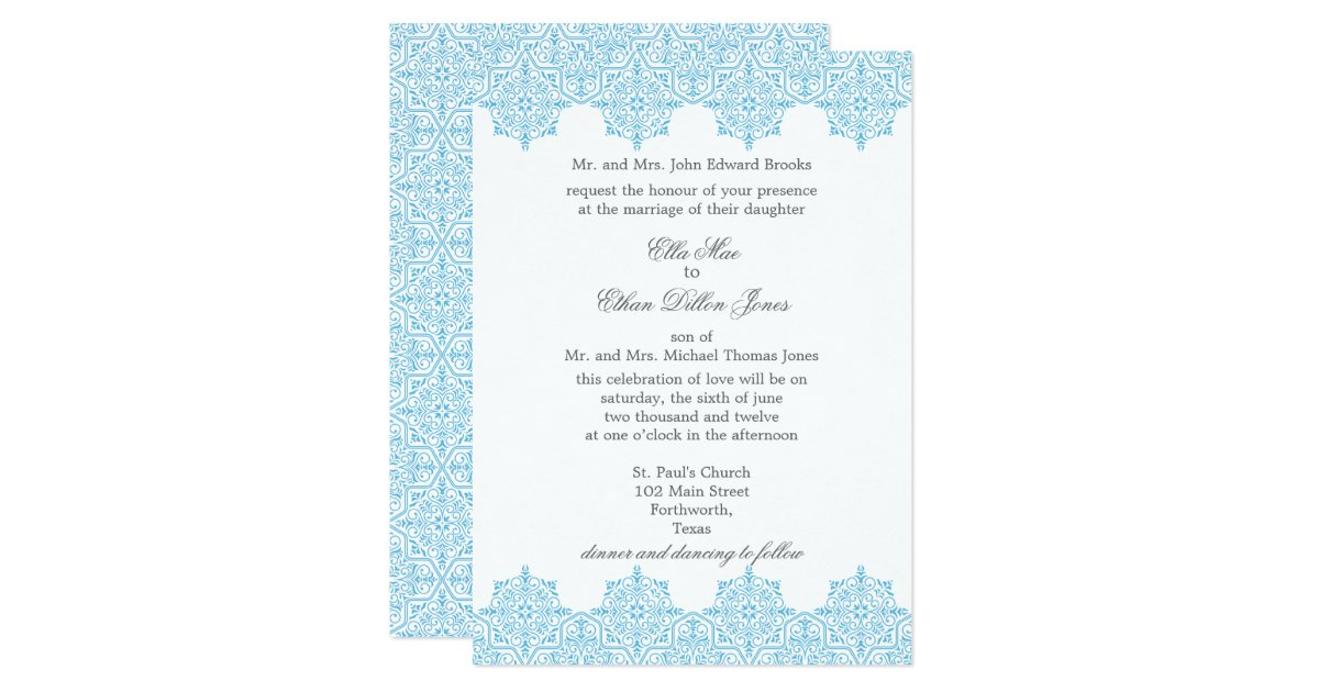 light blue damask wedding invitations zazzle With light blue wedding invitations uk