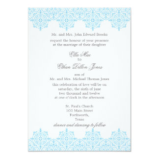 Light Blue Damask Wedding invitations