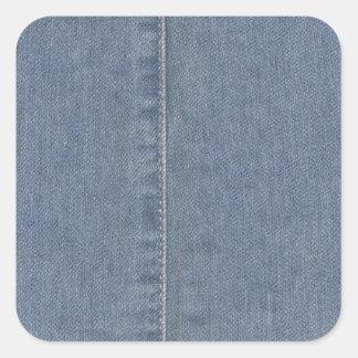 Light Blue Denim Seam Square Sticker