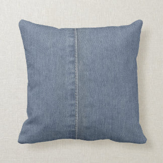 Light Blue Denim Seam Throw Pillow