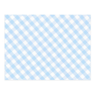 Light blue diagonal gingham pattern post cards