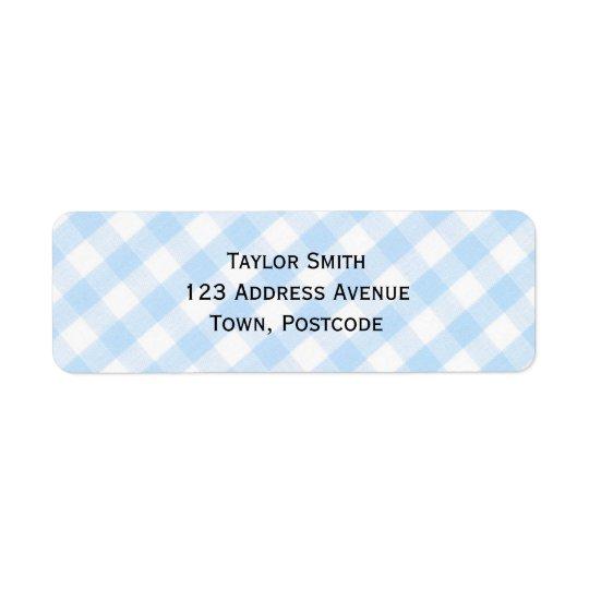 Light blue diagonal gingham pattern return address label