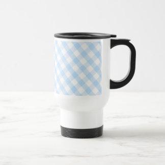 Light blue diagonal gingham pattern travel mug