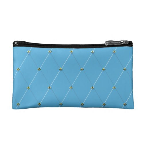 Light Blue Diamond Pattern with Gold Fleur-de-lis Makeup Bags