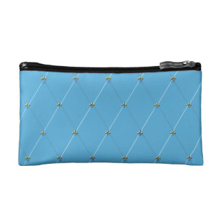 Light Blue Diamond Pattern with Gold Fleur-de-lis Cosmetics Bags