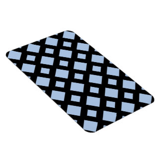 Light Blue Diamonds on Black Rectangular Photo Magnet