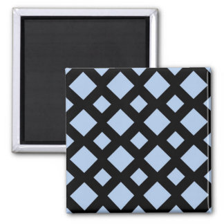 Light Blue Diamonds on Black Square Magnet