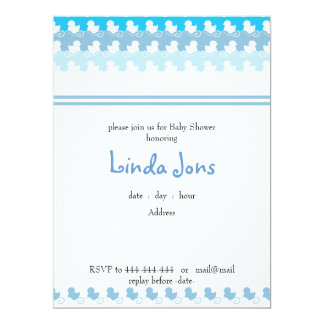 "light blue duck row baby shower invitation 6.5"" x 8.75"" invitation card"
