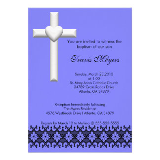 Light Blue Elegant Lace Baptism Christening Invite