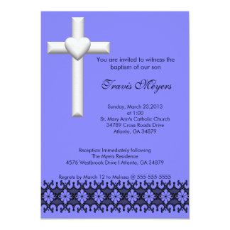 Light Blue Elegant Lace Baptism/Christening Invite