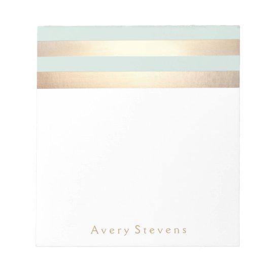 Light Blue Faux Gold Foil Stripes Notepad