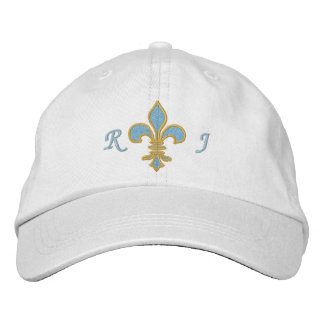 Light Blue  Fleur De Lis Embroidered Hat
