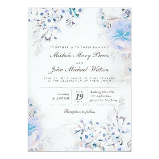 Light Blue Floral Boho Fresh Wedding Invite