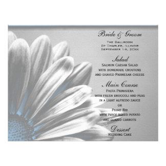 Light Blue Floral Highlights Wedding Menu Flyers