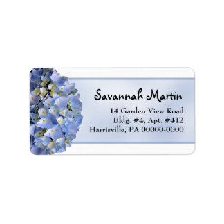 Light Blue Floral Hydrangea Wide Address Label