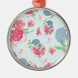 Light Blue Floral Pattern Design Christmas Ornament