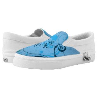 Light blue floral slip on shoes