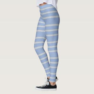 Light Blue Floral Stripe Leggings