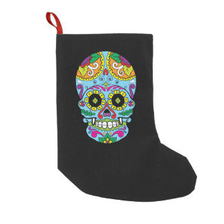 Light Blue Flowers Mexican Tattoo Sugar Skull Small Christmas Stocking