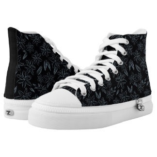 Light blue flowers on black background high tops
