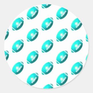 Light Blue Football Pattern Round Sticker