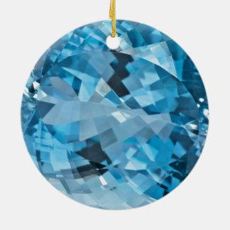 Light blue Gemstone Aquamarine March Birthstone Round Ceramic Decoration
