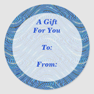 light blue gift tag round stickers