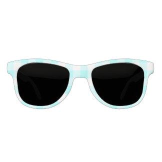 light blue gingham check pattern sunglasses