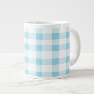 Light Blue Gingham Large Coffee Mug
