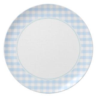 Light blue gingham pattern dinner plates