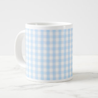 Light blue gingham pattern large coffee mug
