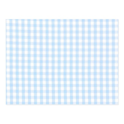Light blue gingham pattern postcard