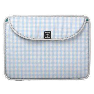 Light blue gingham pattern sleeve for MacBook pro