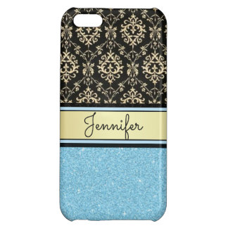 Light blue Glitter, Black Gold Swirls Damask name Case For iPhone 5C