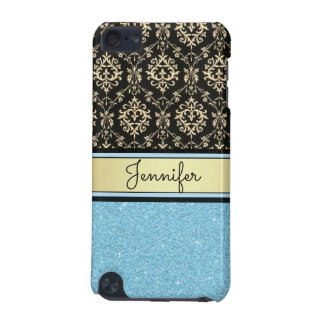 Light blue Glitter, Black Gold Swirls Damask name iPod Touch 5G Cases