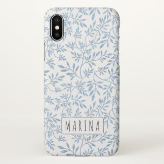 light blue glitter leaves pattern with name iPhone x case