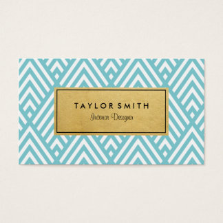Light Blue & Gold Chevron Pattern Business Card