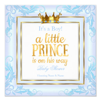 Light Blue Gold Crown Prince Baby Shower Boy Card